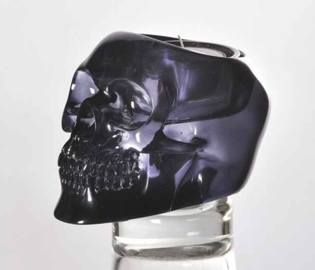 Black Translucent Skull Candle Holder