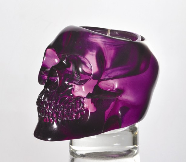 Purple Translucent Skull Candle Holder