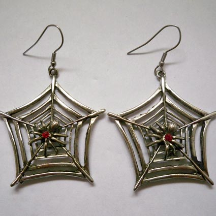 Spider on Spider Web Earrings