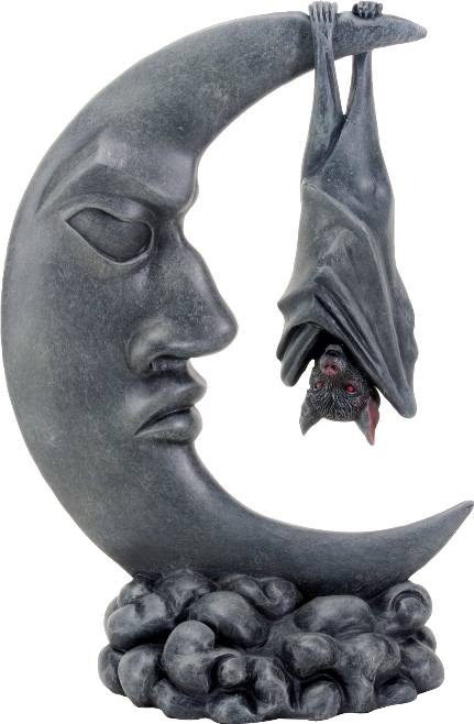 Vampire Bat on Moon Figurine