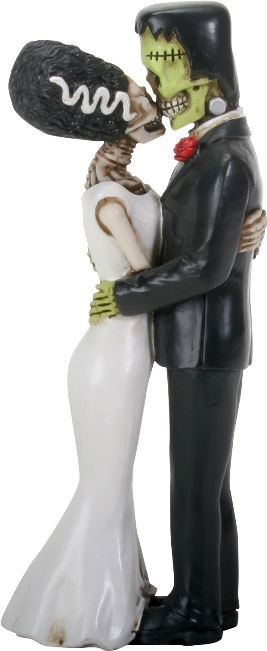 Frankenskull and Bride Kissing Figurine