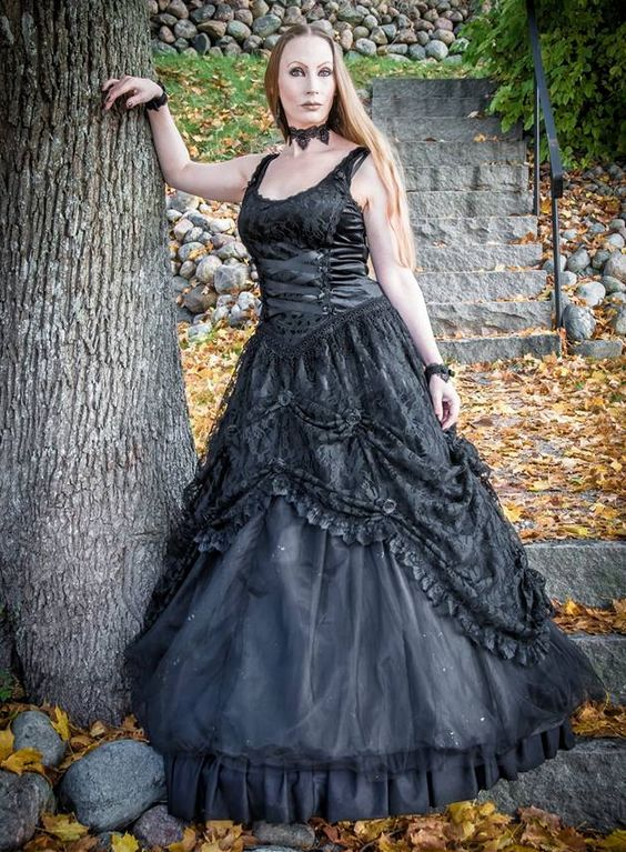 Sinister Gothic Plus Size Black Satin Lace & Tulle w Rosettes Long ...