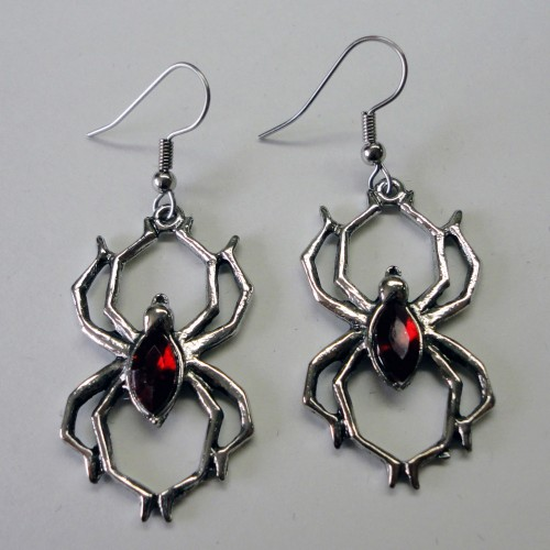 Spider w Red Stone Earrings