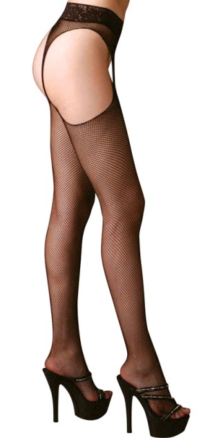 Plus Size Seamless Suspender Fishnet Pantyhose w Lace