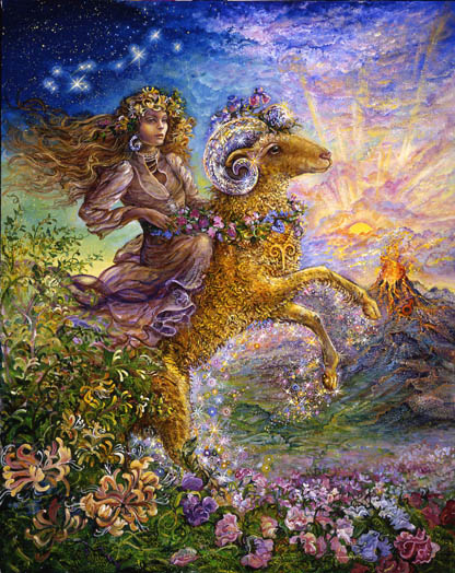 Aries Zodiac Collector's Card by Josephine Wall