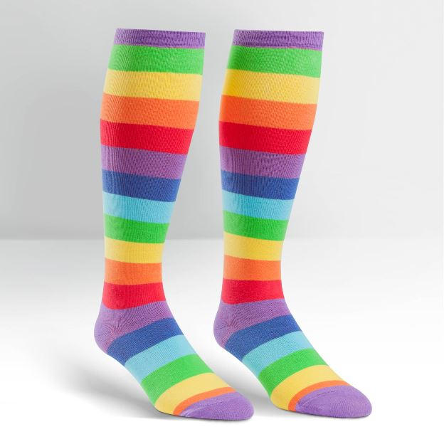 Plus Size Rainbow SuperJuicy Wide Calf Curvy Knee High Socks