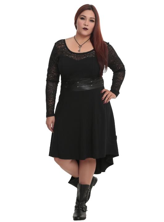 Tripp Plus Size Gothic Black Faux Leather and Lace Hi Lo ...