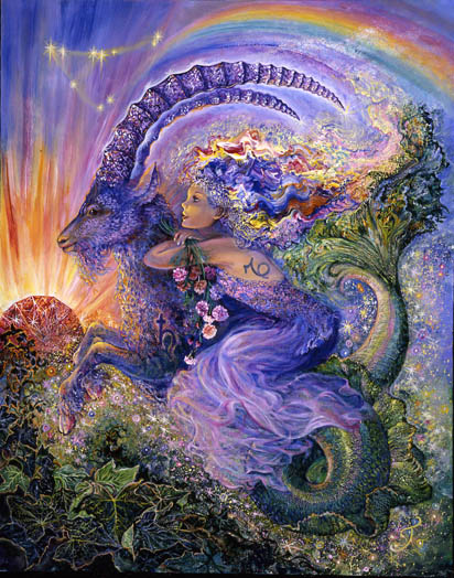 Capricorn Zodiac Collector's Card by Josephine Wall