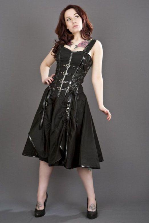 Burleska Plus Size Dominatrix Punk Rock Gothic Black Twill Pvc