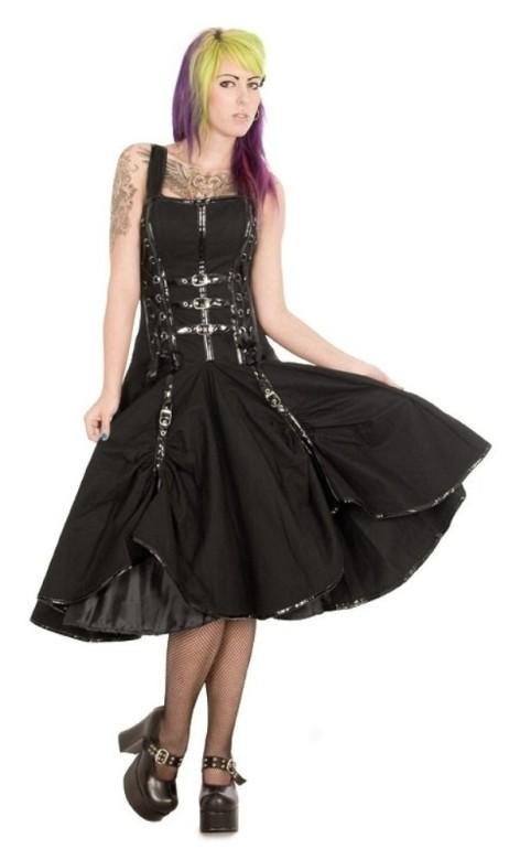 f62d64d37 ... Burleska Plus Size Dominatrix Punk Rock Gothic Black Twill PVC Buckle  Corset Dress ...