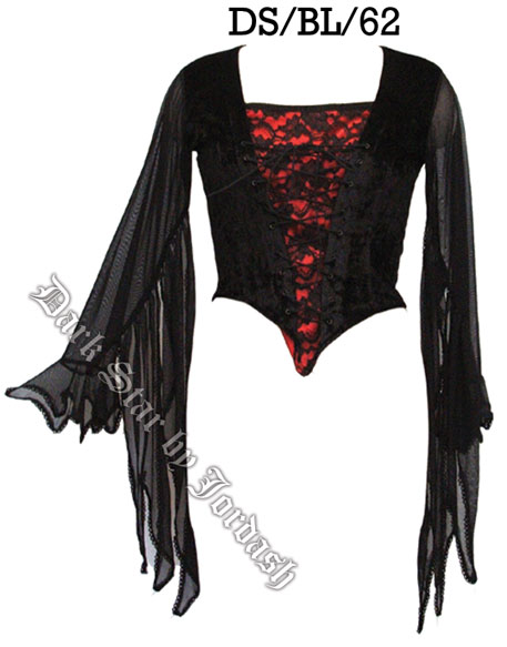 Dark Star Gothic Red Black Velvet Lace Winged Sleeves Top [DS/BL/62R] - $41.99 : Mystic Crypt, the most unique, hard to find items at ghoulishly great prices! from mysticcrypt.com