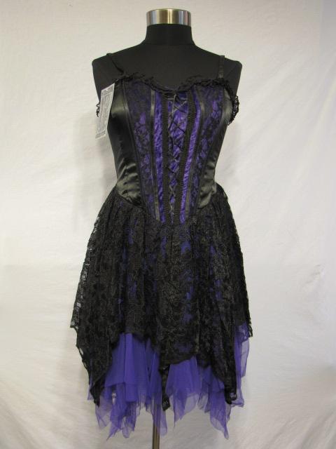 Dark Star Black And Purple Satin Velvet Lace Gothic Mini Dress Ds