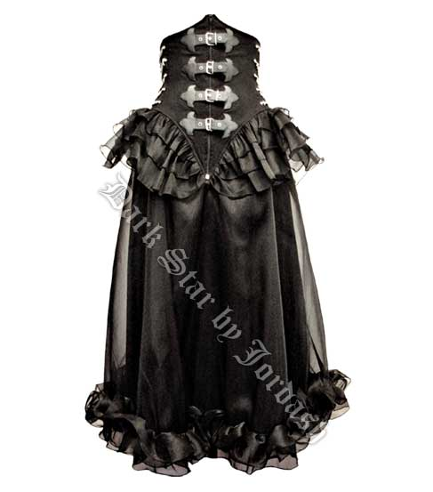 Dark Star Gothic Mesh PVC Buckle Chain Under Bust Dress Skirt
