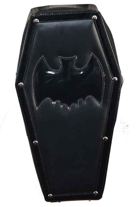 Dark Star Black Gothic PVC Black Bat Coffin Backpack Purse