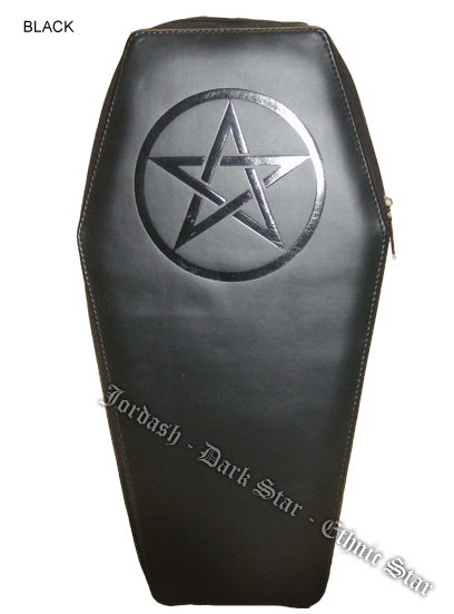 Dark Star Black Gothic PVC Black Pentacle Coffin Backpack Purse