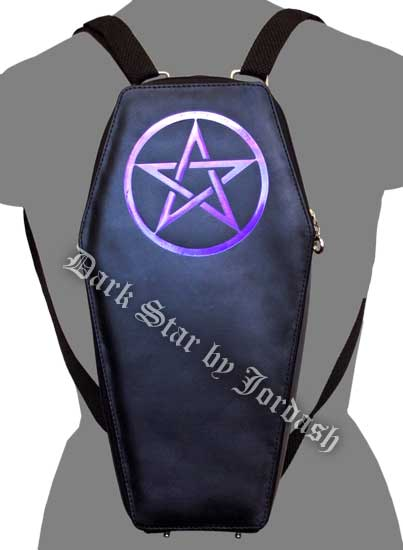 Dark Star Black Gothic PVC Purple Pentacle Coffin Backpack Purs