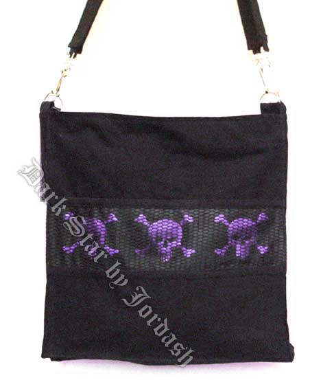 Dark Star Black and Purple Gothic Skull Book Bag