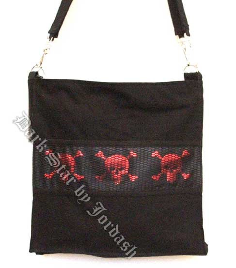 Dark Star Black and Red Gothic Skull Book Bag