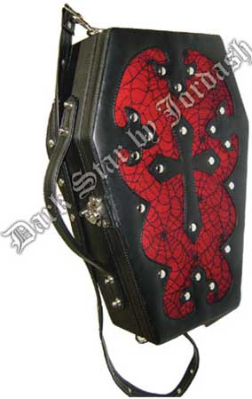 Dark Star Red Gothic PVC Coffin Cross Breifcase Purse