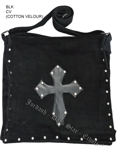 Dark Star Black Stud Cross PVC Velvet Gothic Skull Book Bag