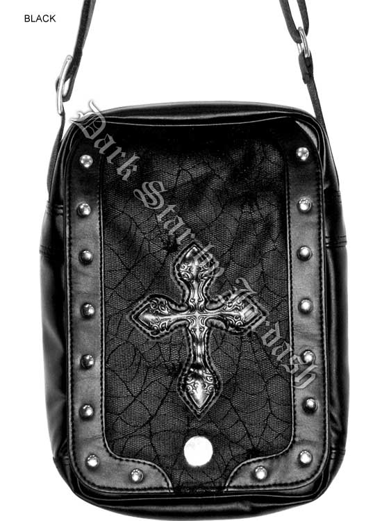 Dark Star PVC Black Cobweb Cross Shoulder Bag