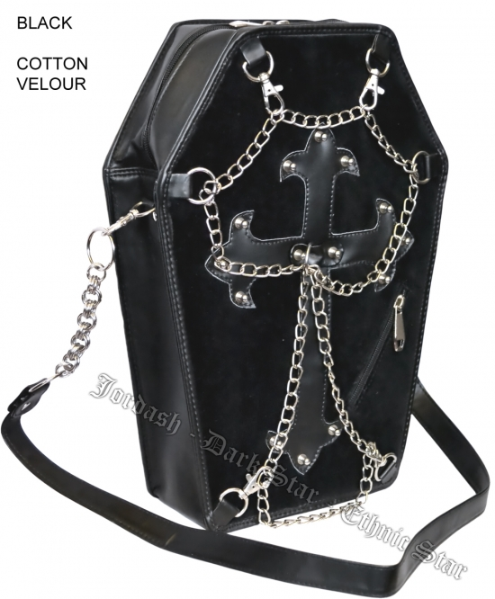Dark Star Black PVC Velvet Coffin Cross Gothic Purse