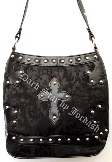 Dark Star Black Brocade Gothic PVC Cross Purse