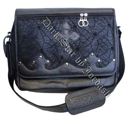 Dark Star Black Gothic PVC Coffin Cross Messenger Bag Purse