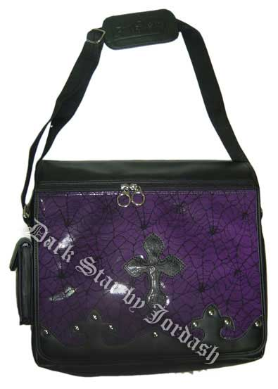 Dark Star Purple Gothic PVC Coffin Cross Messenger Bag Purse