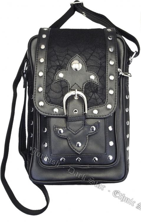 ffde7e3aee6c Dark Star PVC Black Cobweb Stud Gothic Shoulder Bag  DS BG 7463B ...
