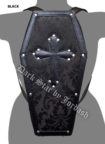 Dark Star Black Gothic PVC Coffin Cross Stud Backpack Purse