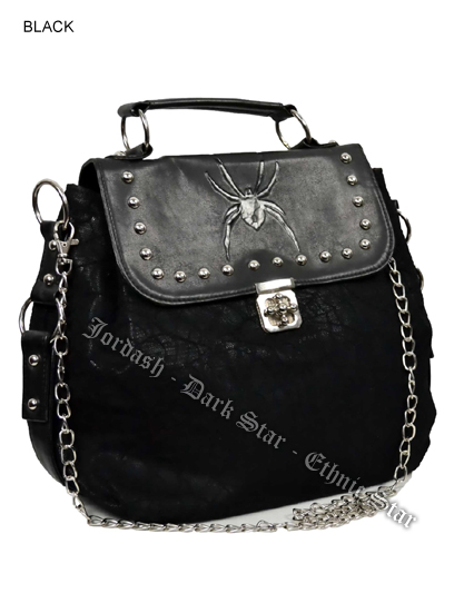 Dark Star Black Gothic Cobweb and Spider PVC Handbag & Shoulder Purse