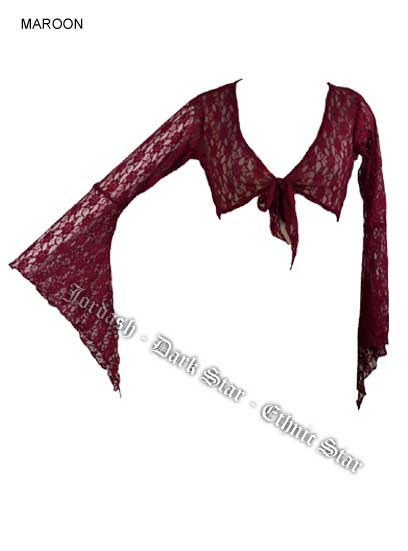 Dark Star Maroon Floral Lace Gothic Blouse Cardigan