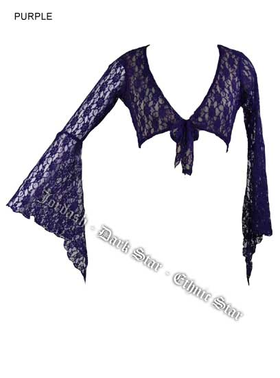 Dark Star Purple Floral Lace Gothic Blouse Cardigan