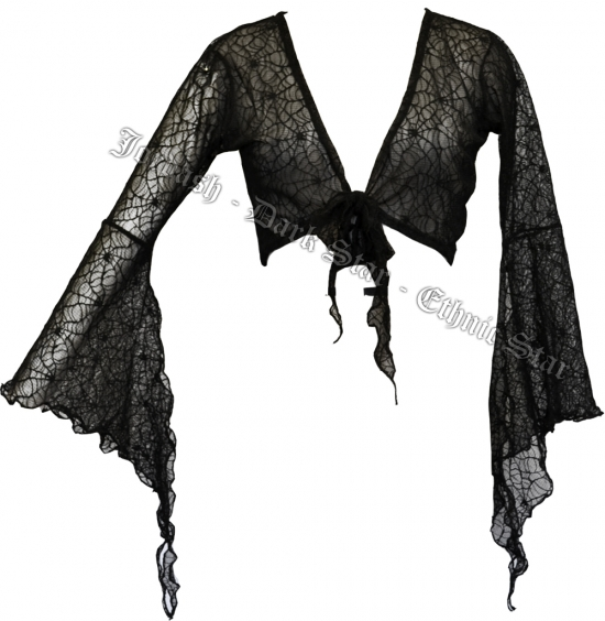 Dark Star Gothic Spider Web Lace Shrug w Bell Sleeves - Click Image to Close