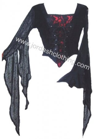 Dark Star Gothic Red Black Velvet Spider Web Lace Winged Top