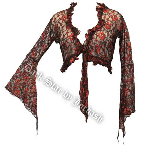 Dark Star Black and Red Lace Shrug