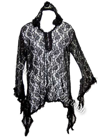 Dark Star Gothic Black Lace Hooded Cape with Rosettes