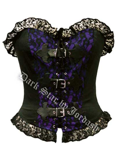 Dark Star Gothic Purple and Black Basque PVC Buckle Top