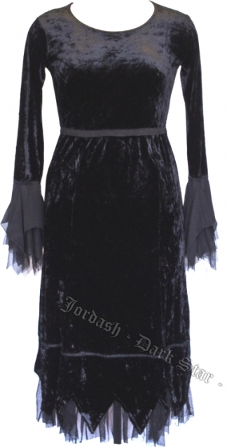 Dark Star Black Gothic Velvet and Mesh Dress