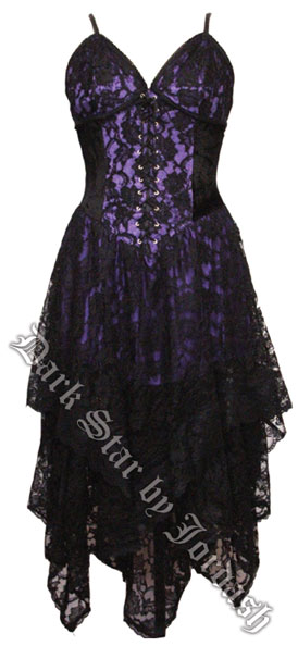 Dark Star Gothic Black & Purple Lace Corset Dress