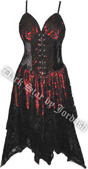 Dark Star Gothic Black & Red Lace Corset Dress