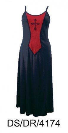 Dark Star Gothic Long Black Red Gown with Cross