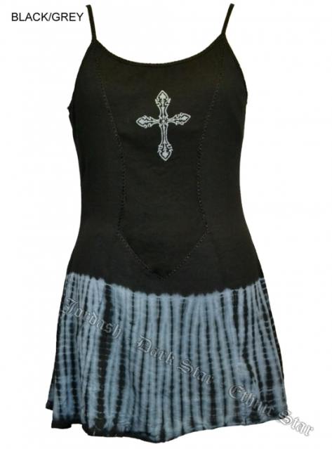Dark Star Gothic Short Black Grey Tie Dye Mini Dress with Cross