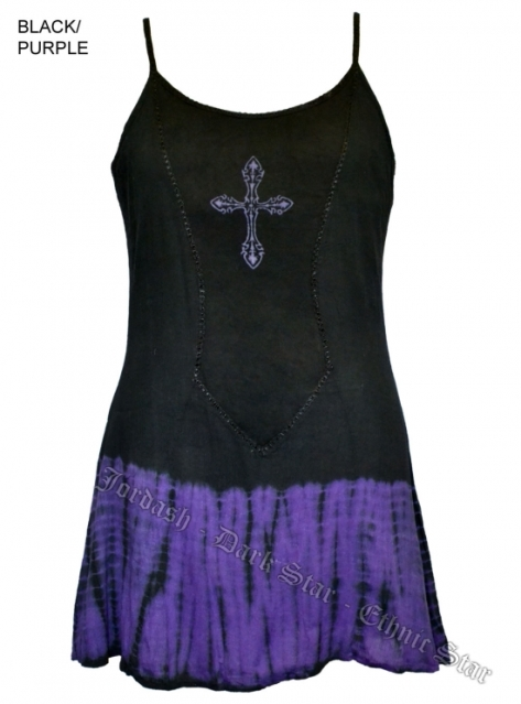 Dark Star Gothic Short Black Purple Tie Dye Mini Dress with Cross