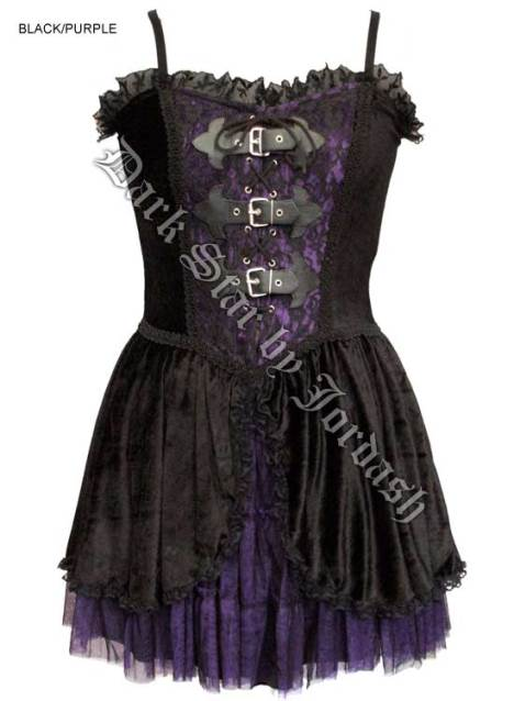 Dark Star Gothic Black Purple Velvet Lace PVC Mini Dress