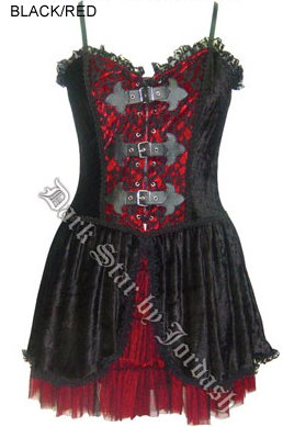 Dark Star Gothic Black Red Velvet Lace PVC Mini Dress