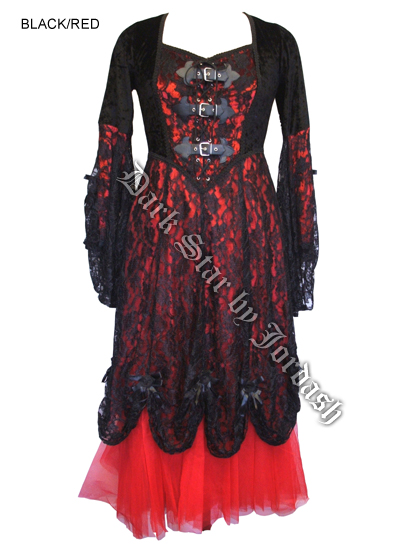 Dark Star Black & Red Velvet & Lace Gothic Medieval Dress