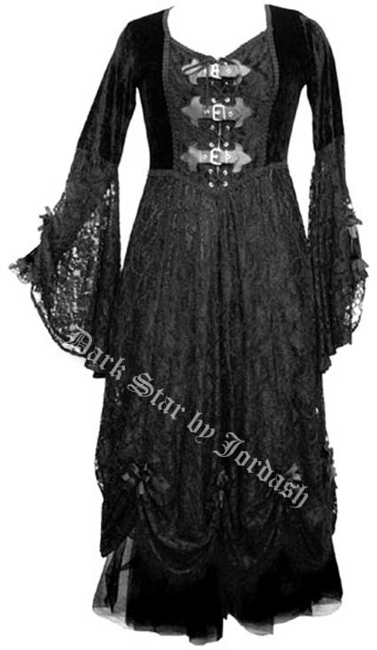 Dark Star Black Velvet & Lace Gothic Medieval Dress