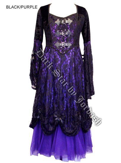 Dark Star Black & Purple Velvet & Lace Gothic Medieval Dress